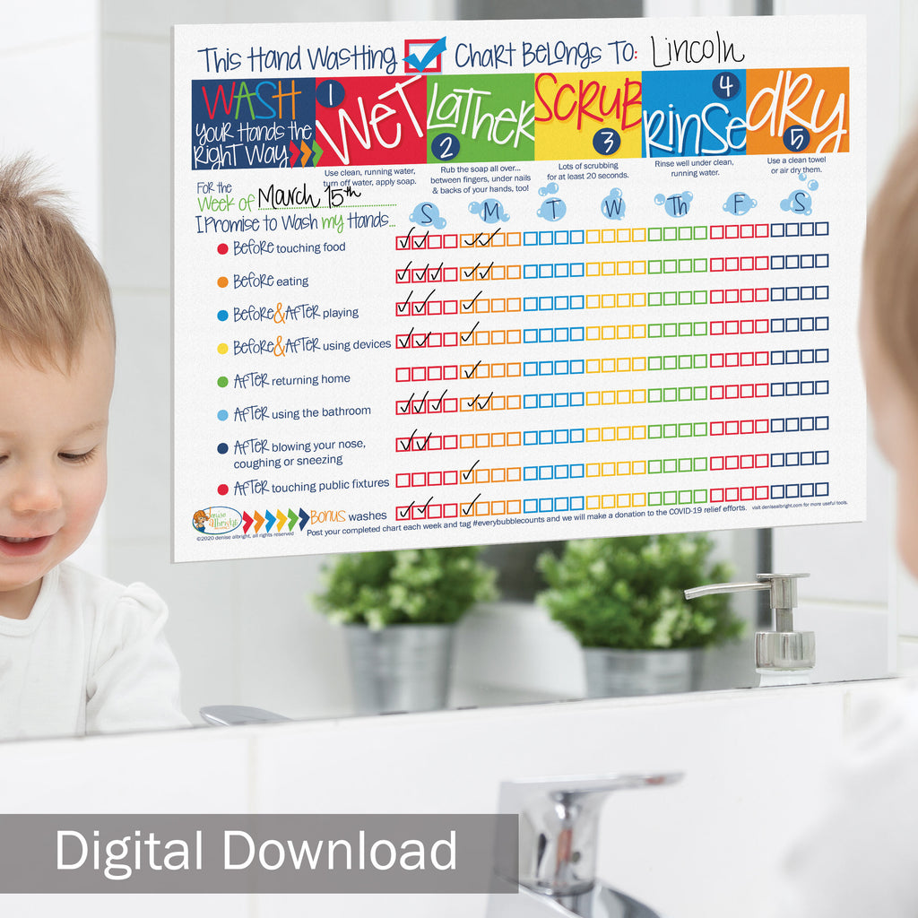 FREE Digital Download | COVID-19 Kids' Hand Washing Chart | Print-ready, Delivered Instantly