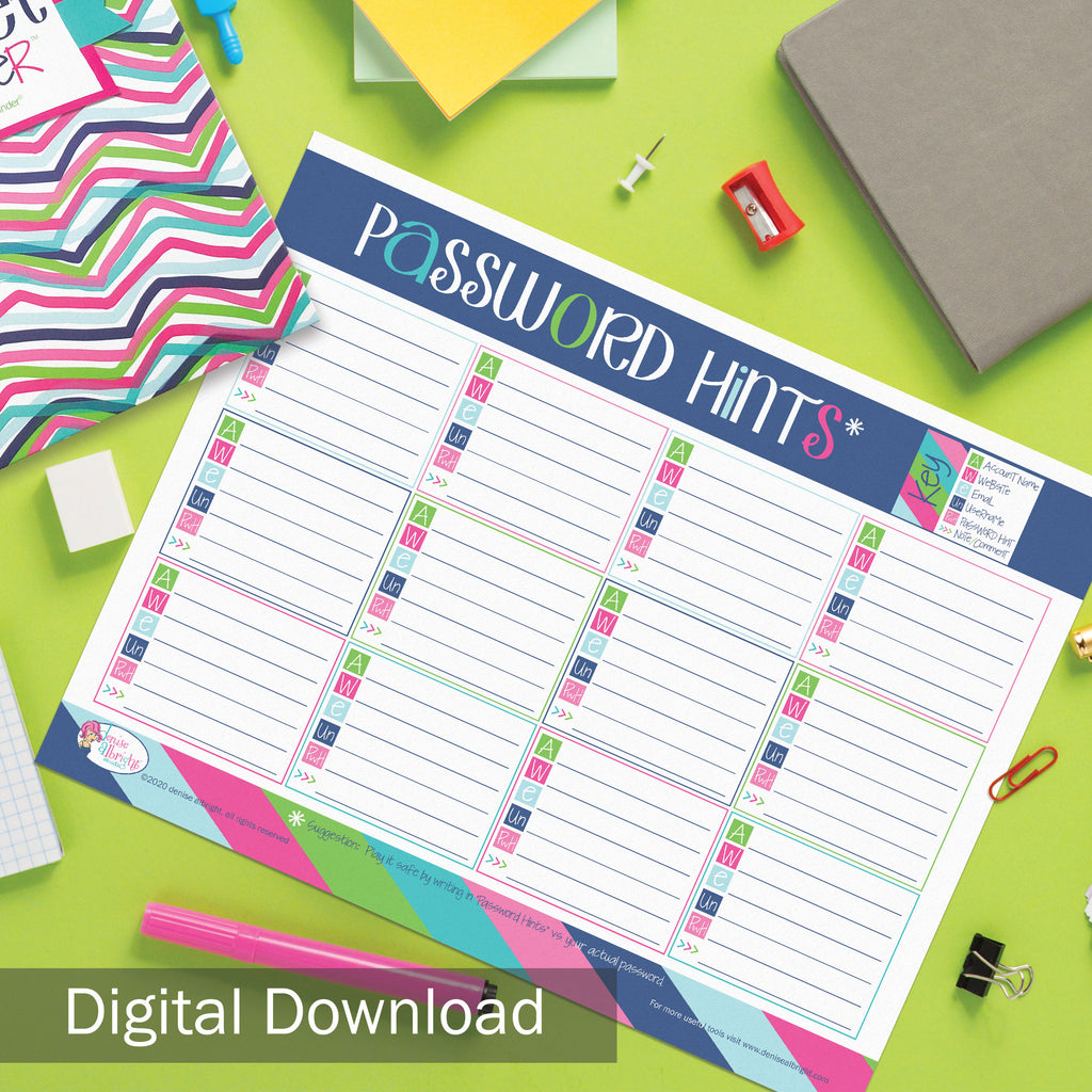 FREE Digital Download | Password Hints Worksheet | Print-ready, Delivered Instantly