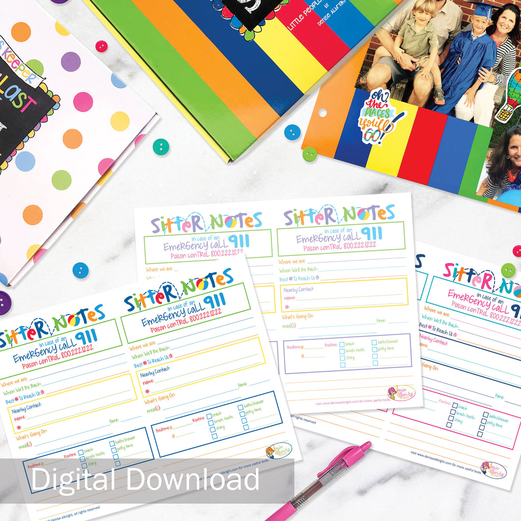 FREE Digital Download | Babysitter Sitter Notes | 3 Color Options | Print-ready, Delivered Instantly