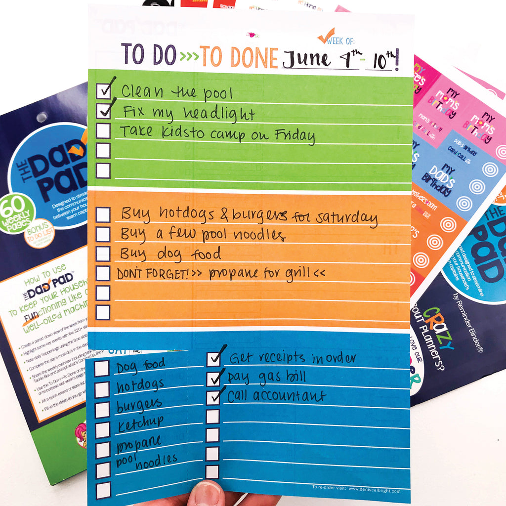 dad pad man planner - weekly view, honey-do list, checklist, reminders, tear-off, events