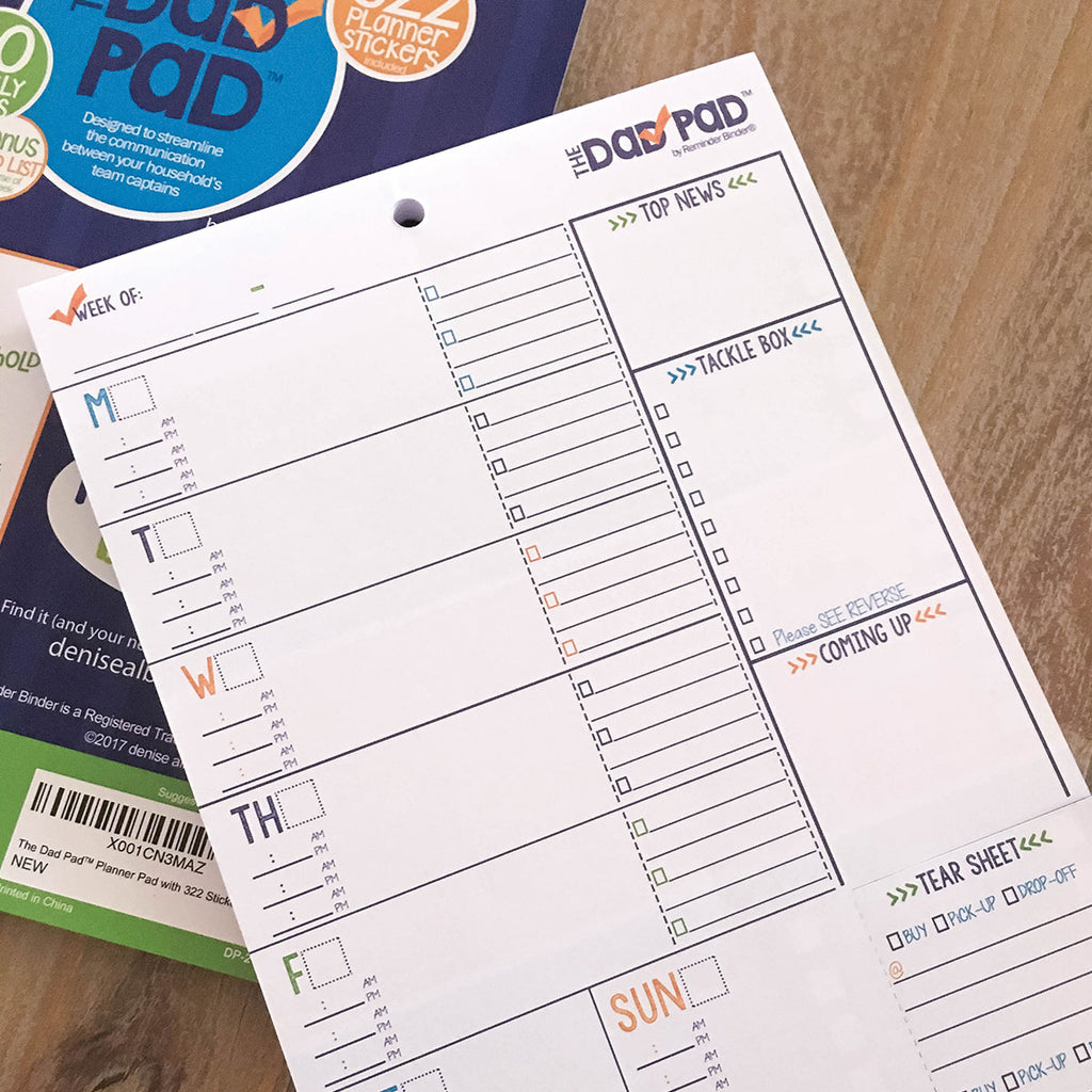 weekly daily planner - dad, man, reminders, to-do's, checklist, tear-off, event, reminders