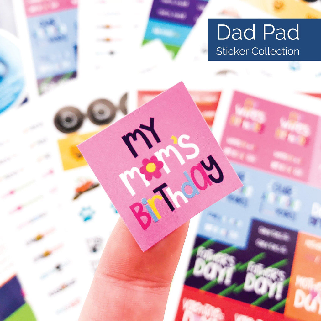 dad pad man planner sticker set - to-dos, auto repair, yard work, event reminders, birthdays, mothers day, fathers day, travel, work, trash