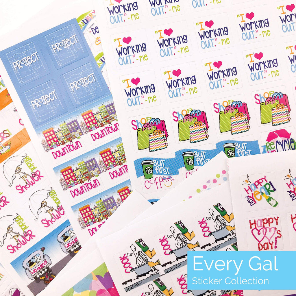every gal planner sticker set - appointments, date night, deadlines, projects, holidays, birthdays, travel, work