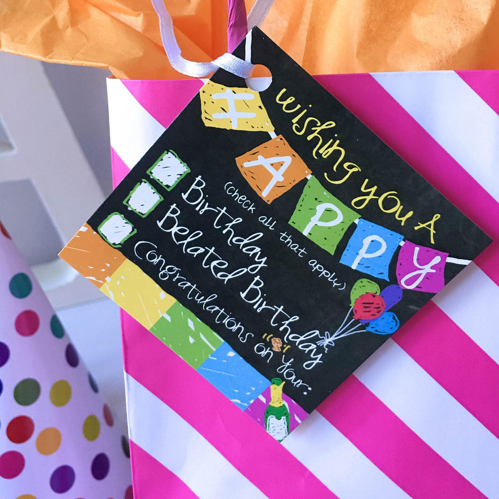 gift tag set - birthday, every occasion, colorful, humor