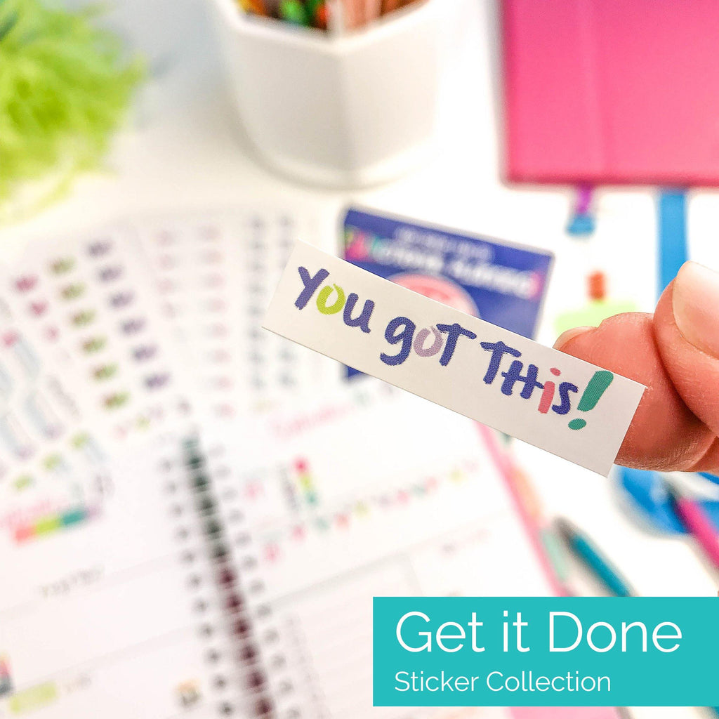 get it done planner sticker set - goals, checklist, to-dos, priorities, tracker, due