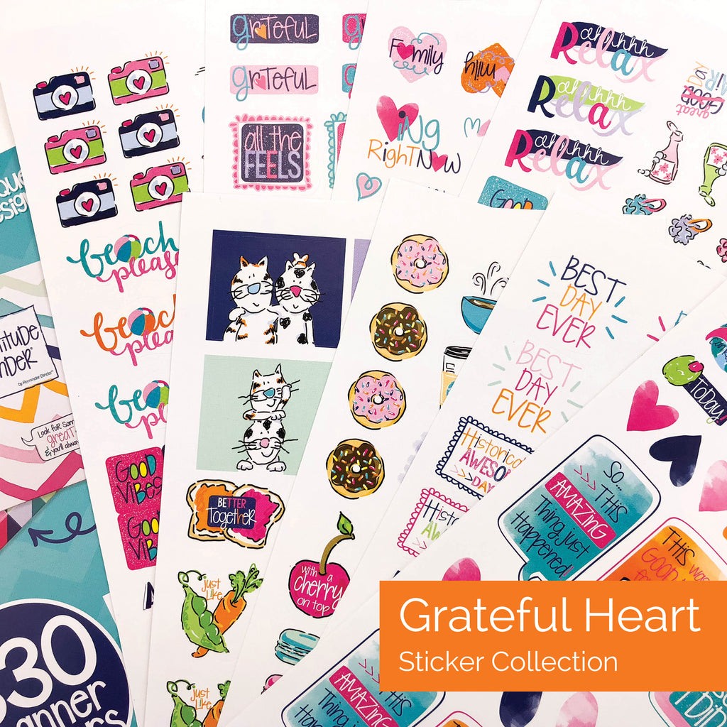 Grateful Heart Sticker Set | Best Planner Stickers - Event Variety Set | (5) Styles