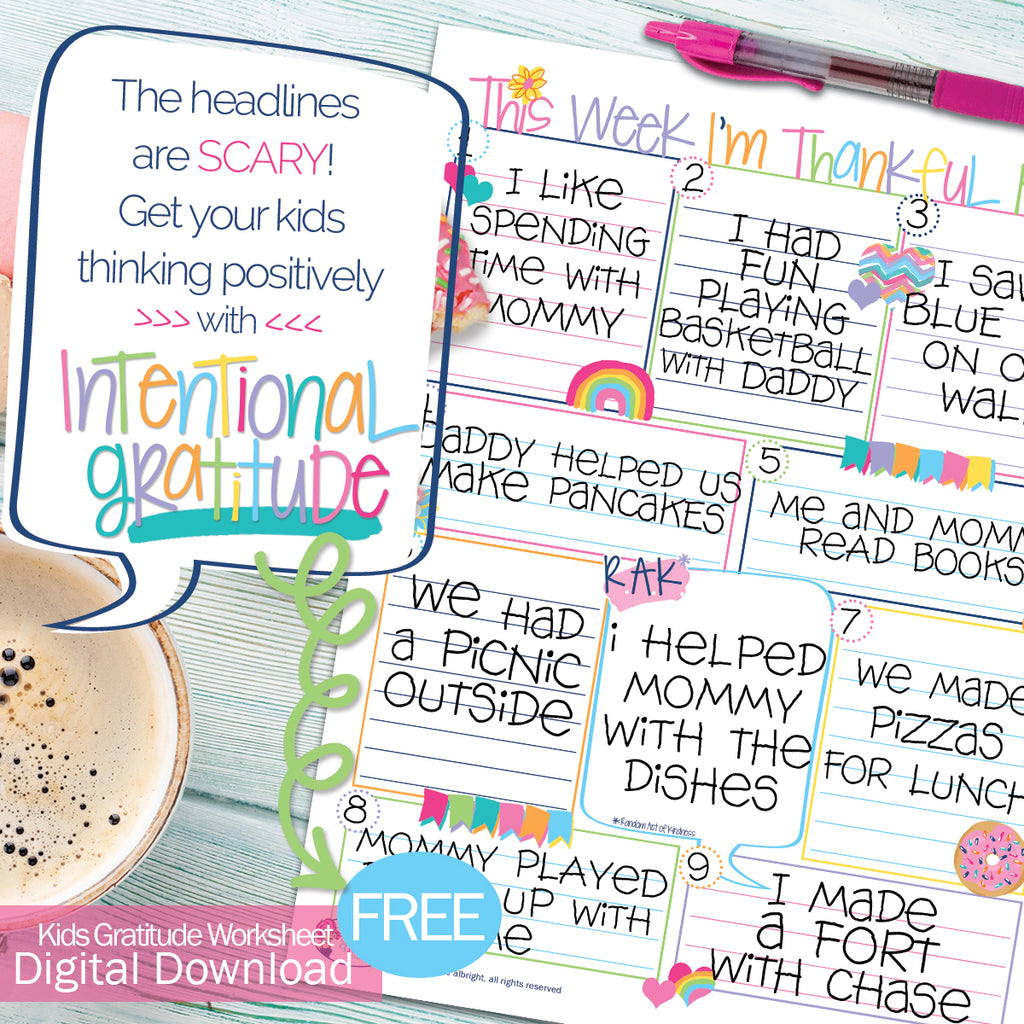FREE Digital Download | COVID-19 Kids Gratitude Worksheet | Print-ready, Delivered Instantly