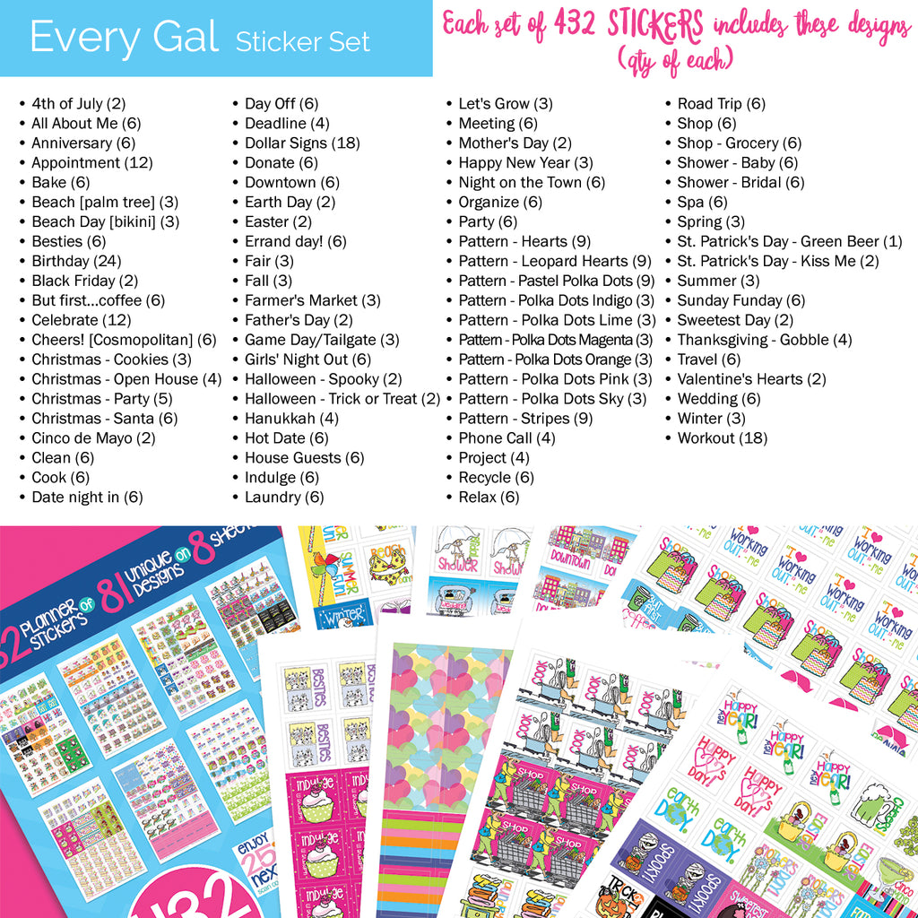 Every Gal Stickers | Home, Work, Office, Event, Birthday Etc.