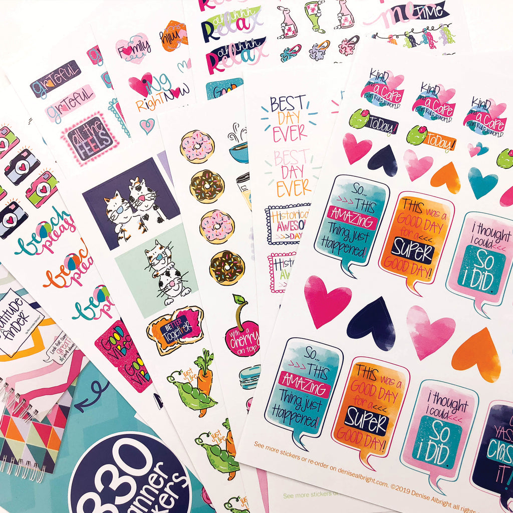 NEW! Gratitude Finder® Journal + Grateful Heart Sticker Set Bundle | 330 Stickers | 7 Styles