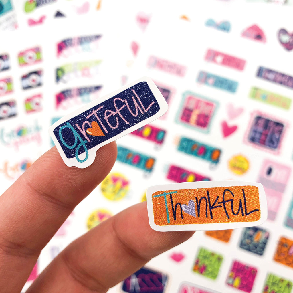 Gratitude Finder® Journal + Grateful Heart Sticker Set Bundle | 330 Stickers | 7 Styles