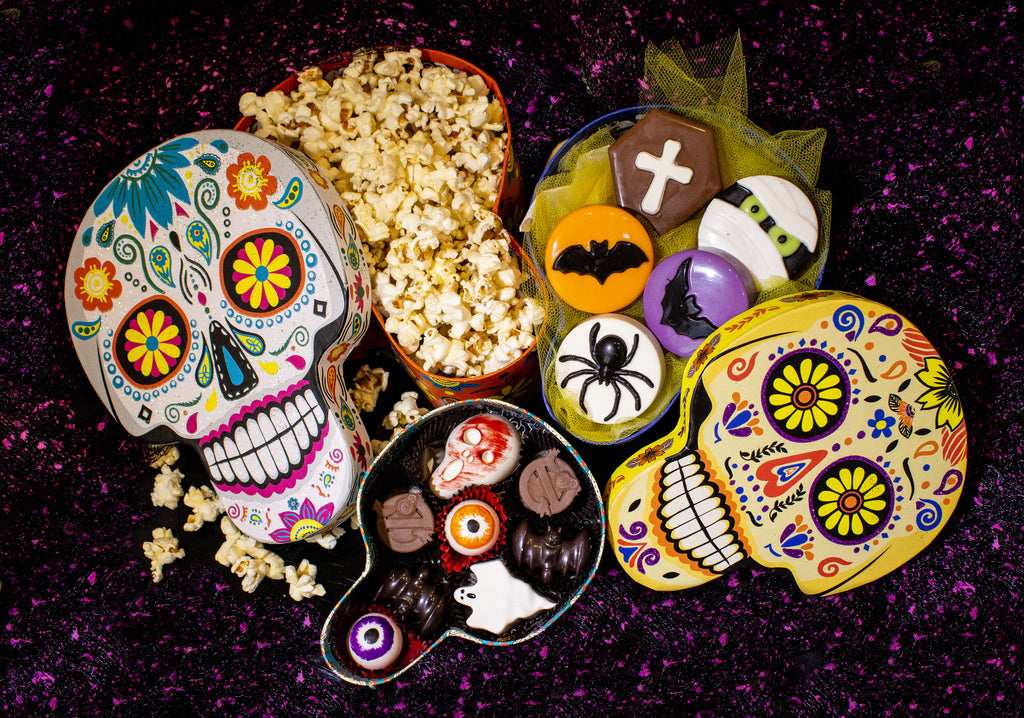 Large Halloween Sugar Skull Box Treat Set (Set of 3)