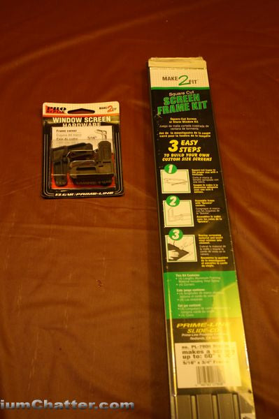 Aluminum Window screen kit can be purchase at your local hardware store
