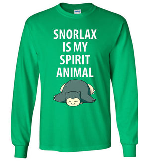Snorlax Long Sleeve Tee - Snorlax Is My Spirit Animal - Absurd Ink