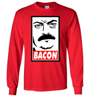 Ron Swanson Bacon - Long Sleeve Shirt - Absurd Ink
