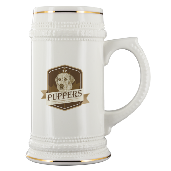 Puppers Premium Lager - Beer Stein