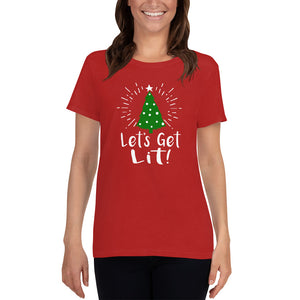Lets Get Lit - Christmas Tree - Ladies Tee - Absurd Ink