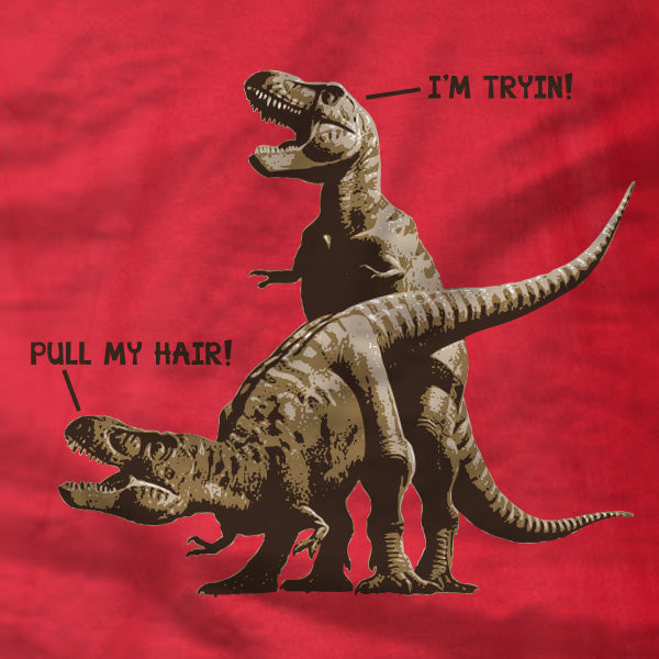 T-Rex Pull My Hair - Gildan Short-Sleeve T-Shirt - Absurd Ink