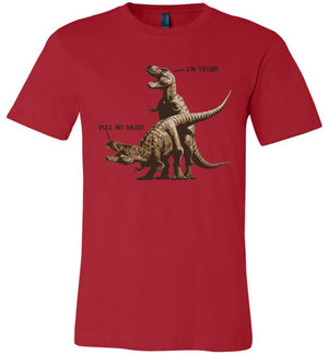 T-Rex Pull My Hair - Canvas Unisex T-Shirt - Absurd Ink