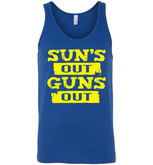 SUN'S OUT GUNS OUT - Canvas Unisex Tank - Absurd Ink