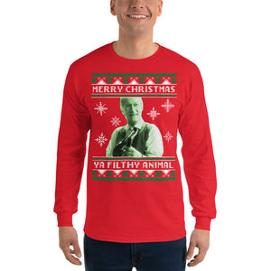 Merry Christmas Ya Filthy Animal - Long Sleeve T-Shirt - Absurd Ink