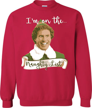 Elf Christmas Sweatshirt - Naughty List - Absurd Ink