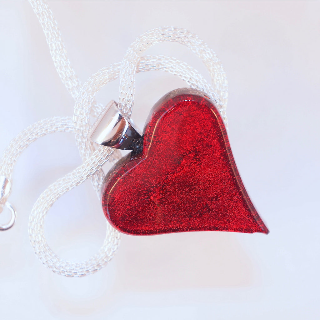 Satori Large Heart with Sterling Silver Mesh Chain