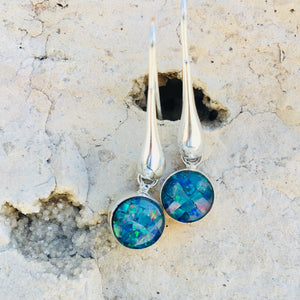 Satori Long Drop Mosaic Opal Earrings