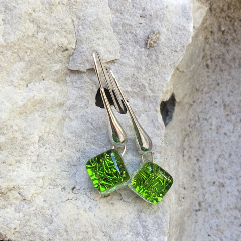 Peridot Green Long Drop Earrings
