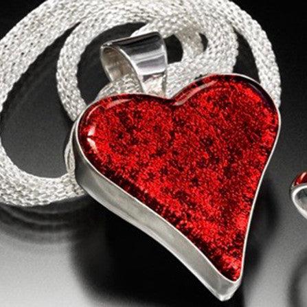 "Large Red Heart Set in Sterling Silver includes 18"" Sterling Silver Mesh Chain"