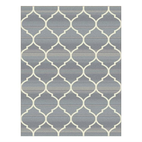 Caldwell Beige Lattice Grey Trellis Patterned Modern Rug - 1