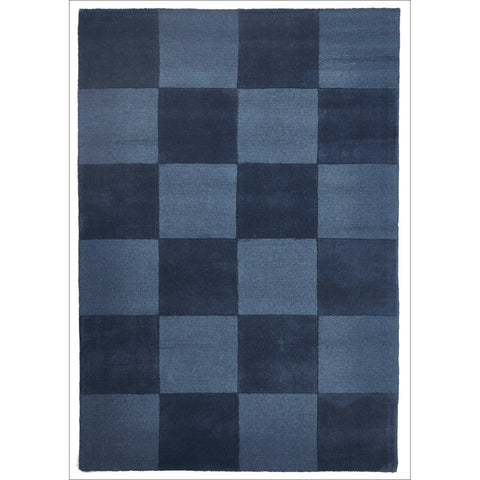 Wool Hand Loomed Rug - Box Petrol - Rugs Of Beauty