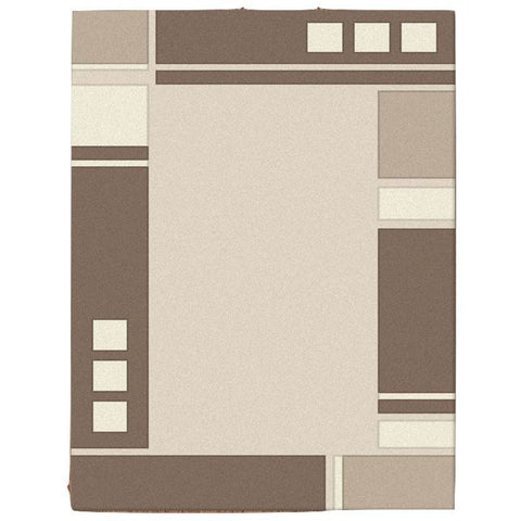 Dover Beige Abstract Multi Coloured Border Modern Rug - 1