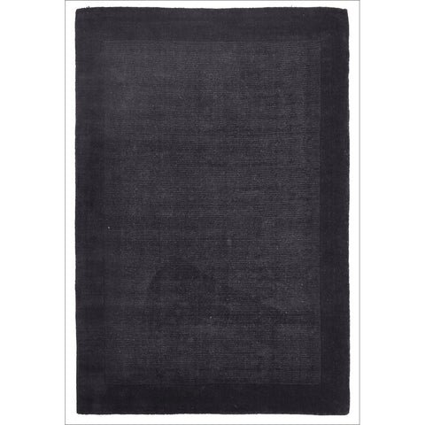 Cut and Loop Plush Pile Wool Rug Charcoal - Rugs Of Beauty