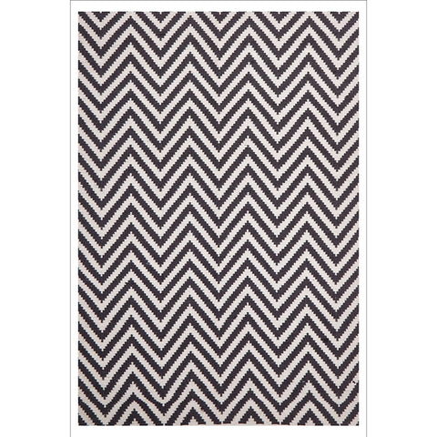 Modern Flatweave Chevron Design Black Rug - Rugs Of Beauty