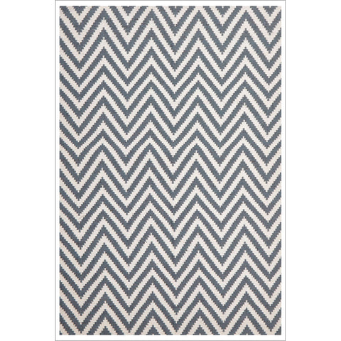 Modern Flatweave Chevron Design Blue Rug - Rugs Of Beauty