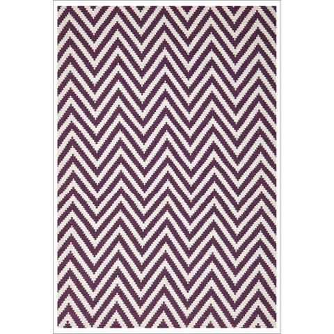 Modern Flatweave Chevron Design Purple Rug - Rugs Of Beauty