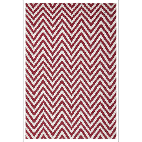 Modern Flatweave Chevron Design Red Rug - Rugs Of Beauty