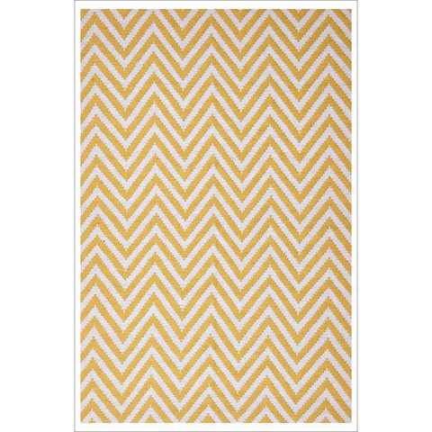 Modern Flatweave Chevron Design Yellow Rug - Rugs Of Beauty