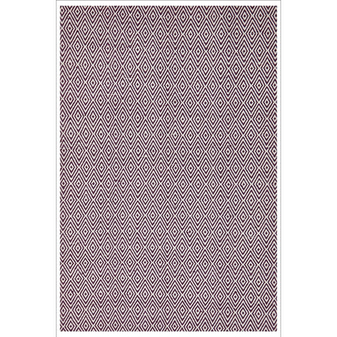 Modern Flatweave Diamond Design Purple Rug - Rugs Of Beauty