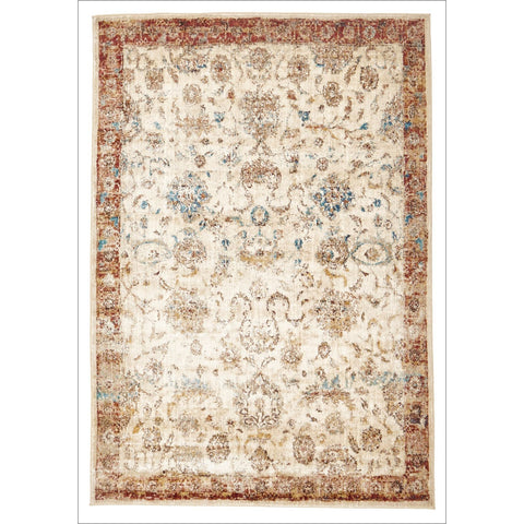 Beliz Beige Multi Coloured Border Transitional Designer Rug - Rugs Of Beauty