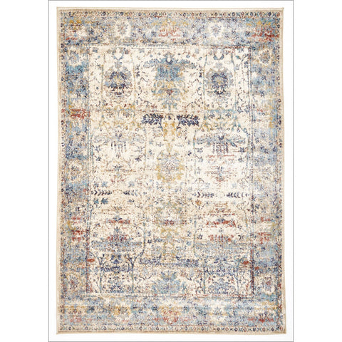 Sanremo Stunning Designer Rug Ivory Blue - Rugs Of Beauty - 1