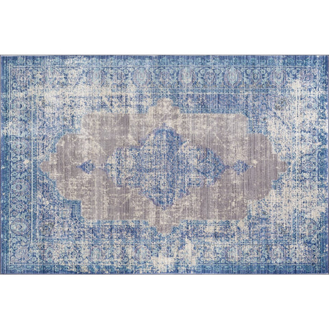 Art Silk Dense Traditional Blue Rug - Rugs Of Beauty - 1