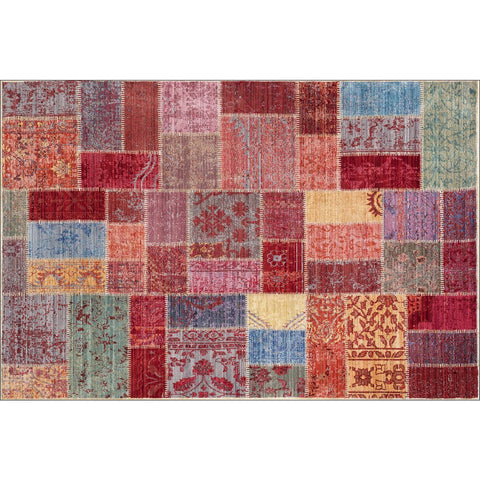Art Silk Brilliant Patchwork Multi Rug - Rugs Of Beauty - 1