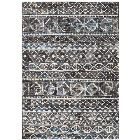 Cadiz 493 Grey Turquoise Blue Rust White Textured Modern Rug - Rugs Of Beauty - 1
