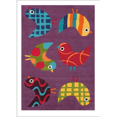 Arte Espina Cute Little Birds Rug Purple 160x110cm - Rugs Of Beauty - 1