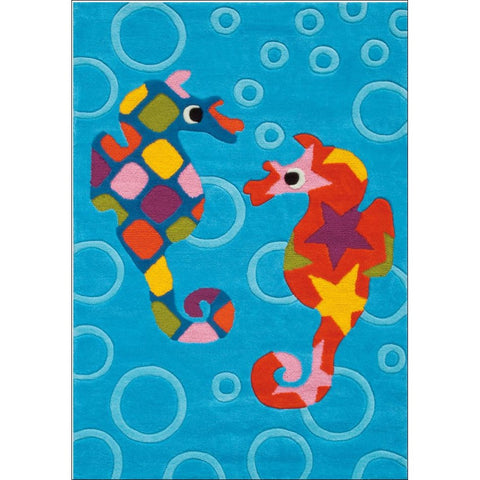 Arte Espina Designer Kids Sea Horses Rug Blue 160x110cm - Rugs Of Beauty