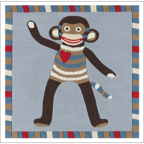 Arte Espina Cute Little Monkey Rug Blue 130x130cm - Rugs Of Beauty - 1