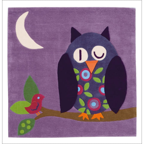 Arte Espina Cute Purple Owl Rug 130x130cm - Rugs Of Beauty