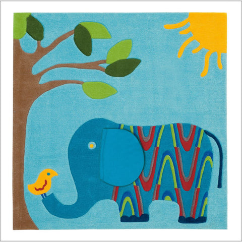 Arte Espina Cute Blue Elephant Rug 130x130cm - Rugs Of Beauty
