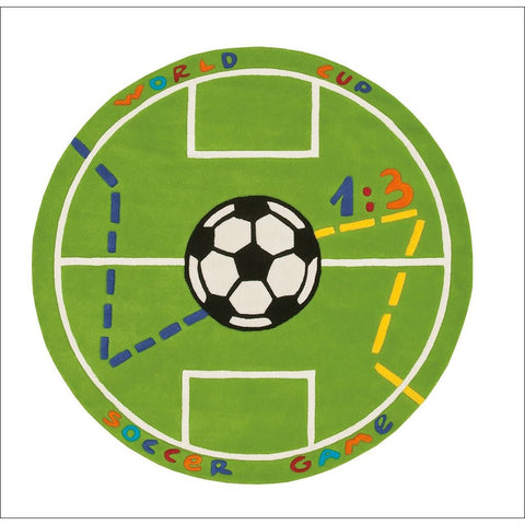 Arte Espina Round Kids Soccer Rug Green 130x130cm - Rugs Of Beauty